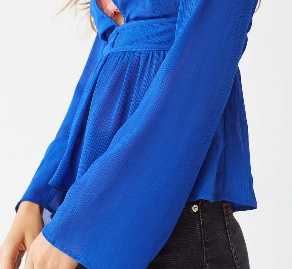 Slide View: 4: UO Deep V Open-Back Blouse