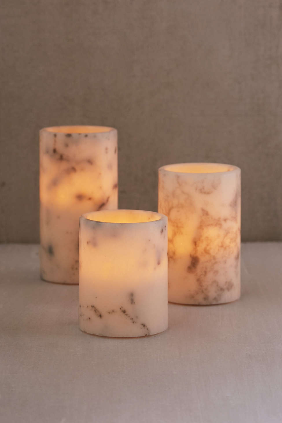 Slide View: 2: Flameless Marble Candle Set