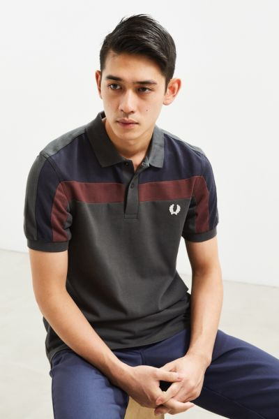 Fred Perry Panel Pique Polo Shirt - Dark Grey S at Urban Outfitters