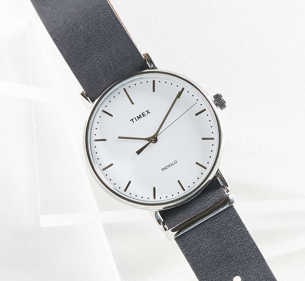 Slide View: 2: Timex Fairfield Leather Watch