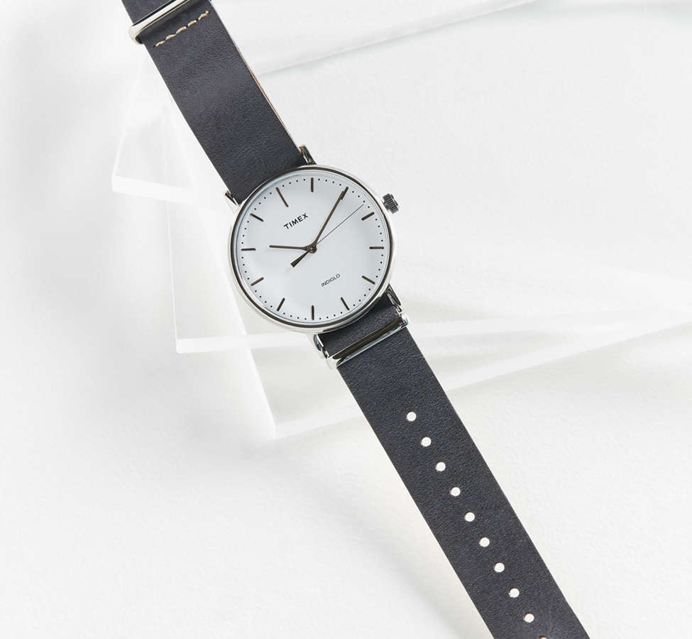 Slide View: 3: Timex Fairfield Leather Watch