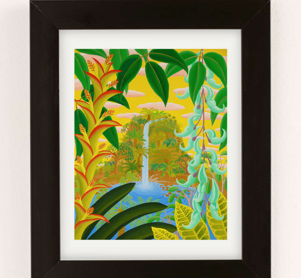 Slide View: 2: Amy Lincoln Jungle Waterfall Art Print
