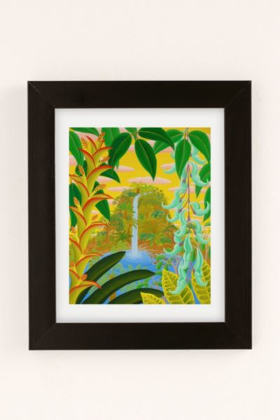 Amy Lincoln Jungle Waterfall Art Print - Washed Black One Size at Urban Outfitters