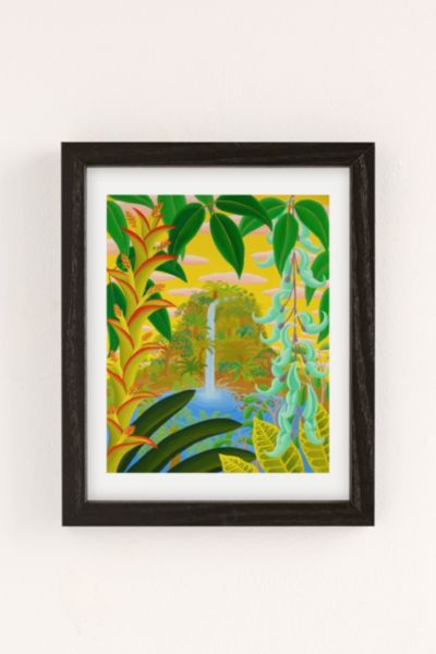 Amy Lincoln Jungle Waterfall Art Print - Charcoal One Size at Urban Outfitters