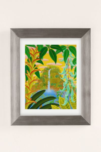Amy Lincoln Jungle Waterfall Art Print - Silver One Size at Urban Outfitters