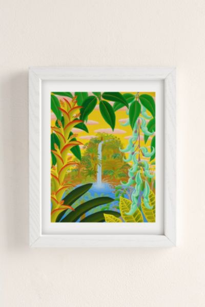 Amy Lincoln Jungle Waterfall Art Print - White One Size at Urban Outfitters