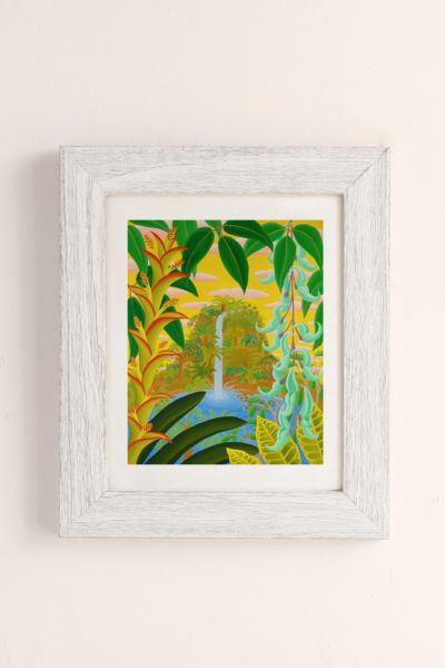 Amy Lincoln Jungle Waterfall Art Print - Ivory One Size at Urban Outfitters