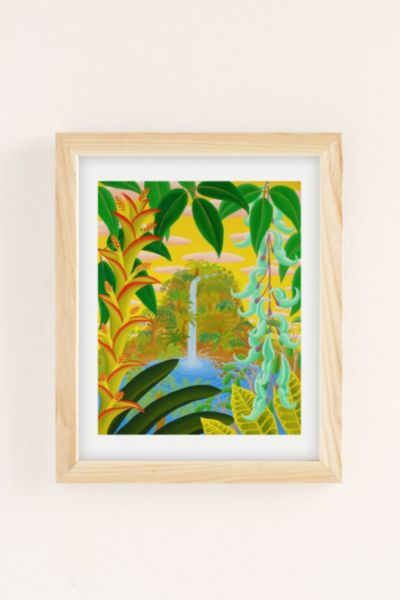 Amy Lincoln Jungle Waterfall Art Print - Neutral One Size at Urban Outfitters