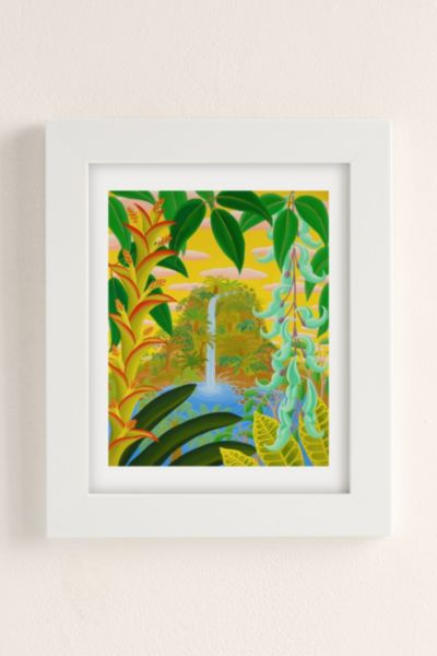 Amy Lincoln Jungle Waterfall Art Print - Pearl One Size at Urban Outfitters