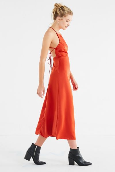 Motel Harper Backless Dress - Rust XS at Urban Outfitters