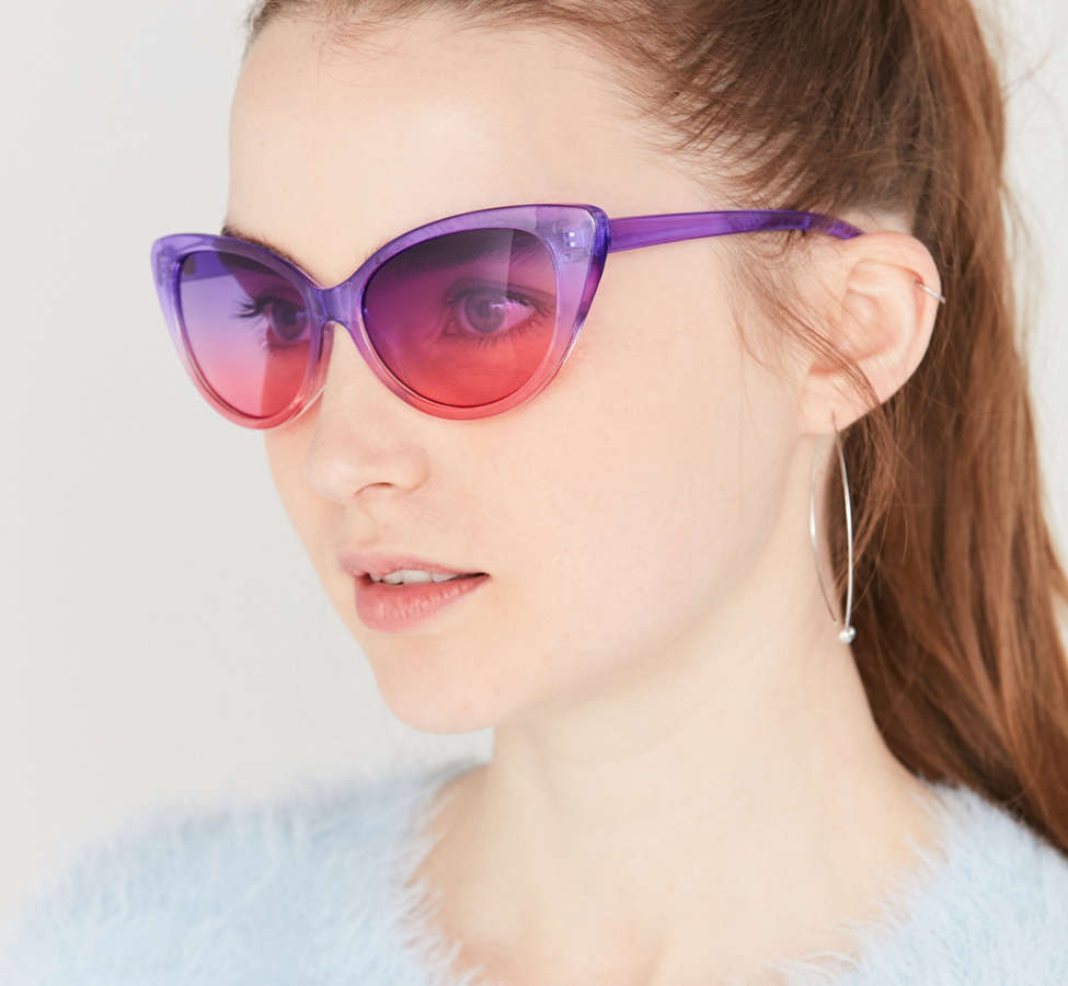 Slide View: 1: Gradient Cat-Eye Sunglasses