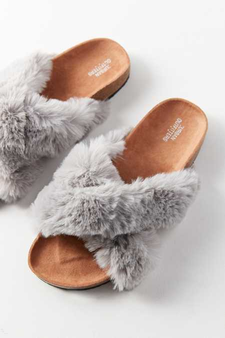Crossed Faux Fur Slide