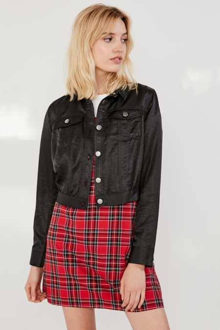 UO Cropped Satin Trucker Jacket
