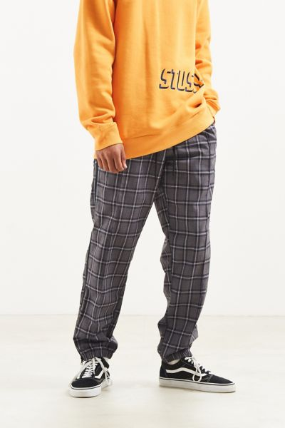 UO Side Zip Windowpane Pant - Black S at Urban Outfitters