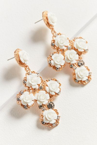 ZHUU Rose Cross Statement Earring