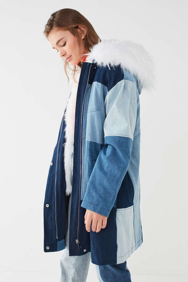 UO Faux-Fur Patchwork Denim Parka Jacket | Urban Outfitters