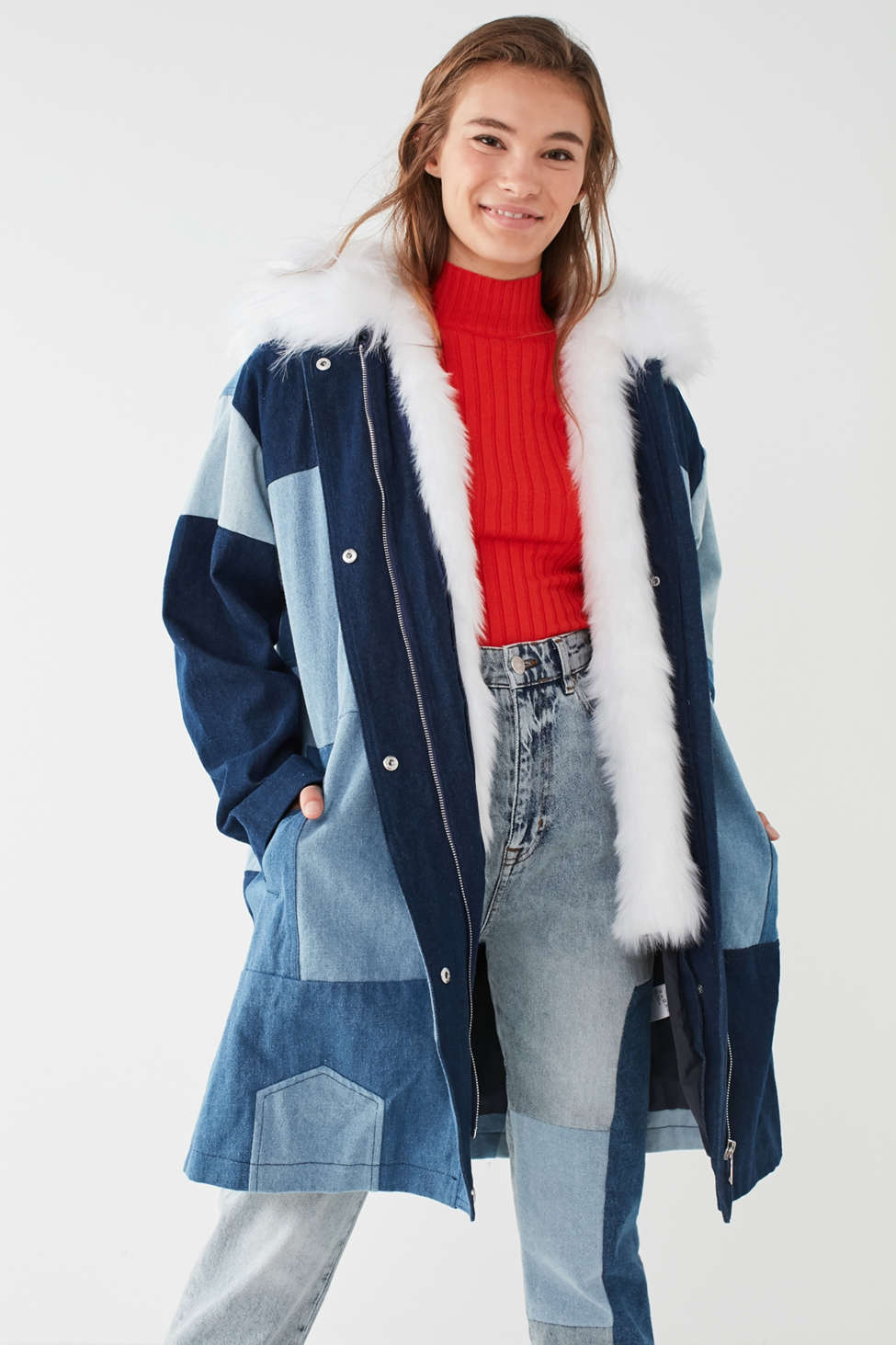 UO Faux Fur Patchwork Denim Parka Jacket | Urban Outfitters