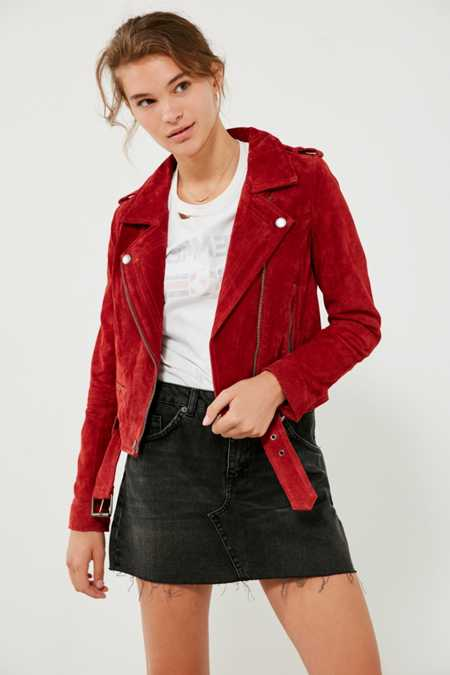 BLANKNYC Red My Mind Suede Moto Jacket