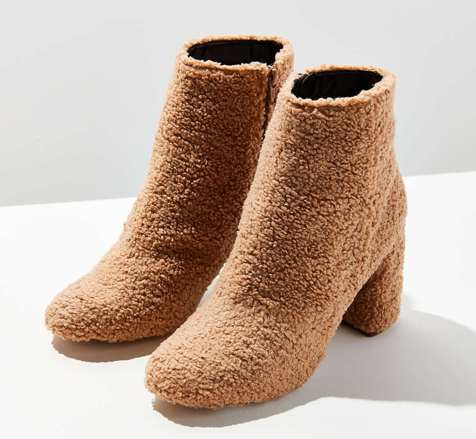 Slide View: 1: Timber Faux Sherpa Ankle Boot
