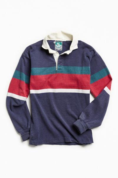 Vintage McIntosh & Seymour Navy Multi Stripe Rugby Shirt