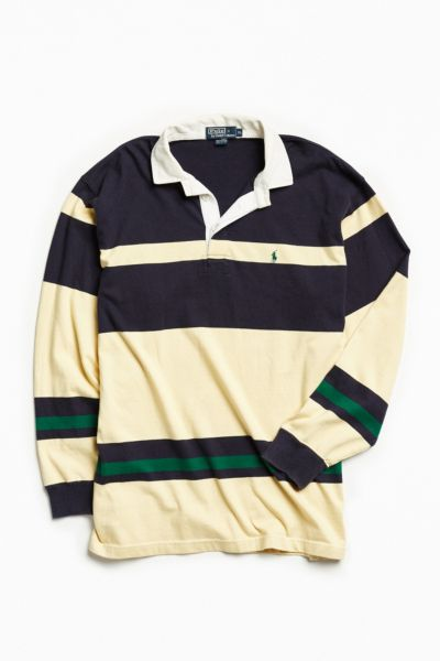 Vintage Polo By Ralph Lauren Yellow + Navy Stripe Rugby Shirt