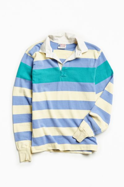 Vintage Periwinkle + Yellow Stripe Rugby Shirt