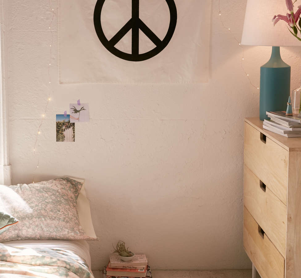 Slide View: 1: Velvet Flocked Peace Sign Tapestry