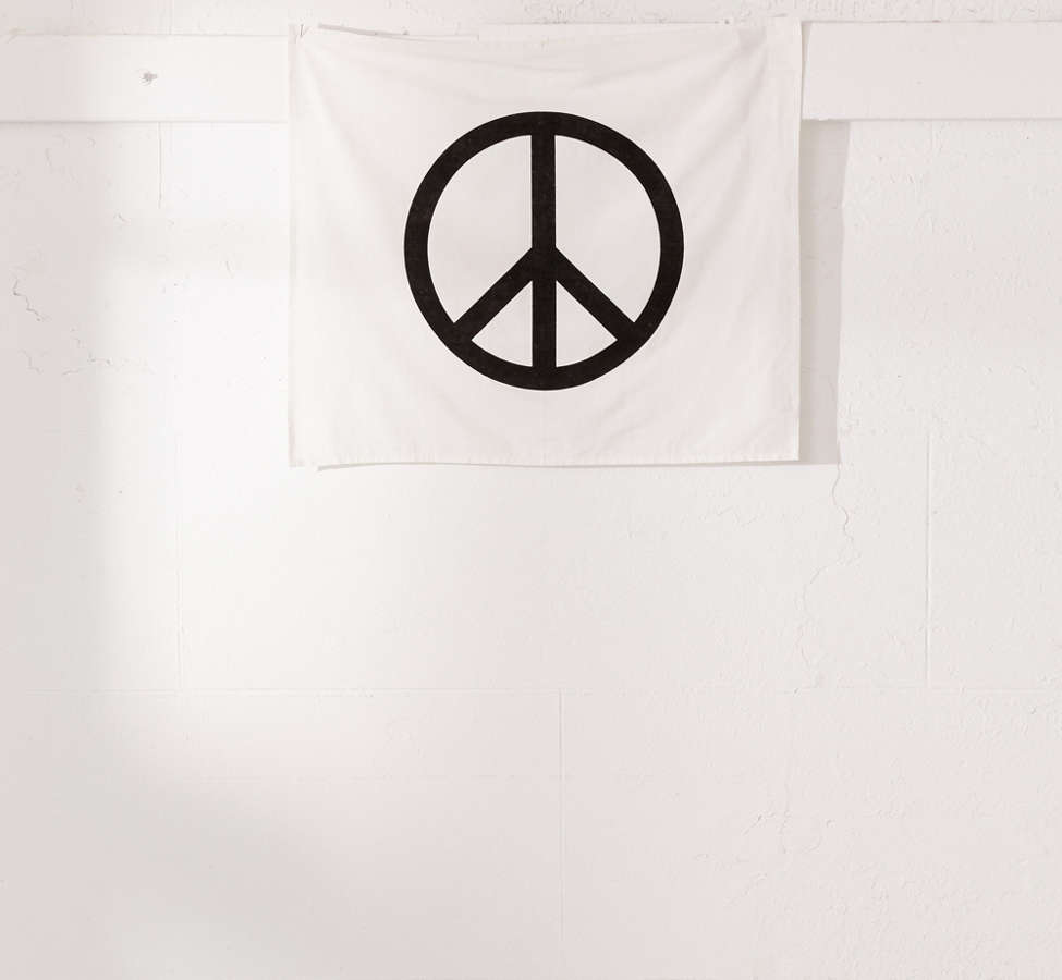Slide View: 2: Velvet Flocked Peace Sign Tapestry