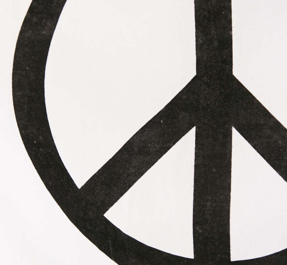 Slide View: 3: Velvet Flocked Peace Sign Tapestry