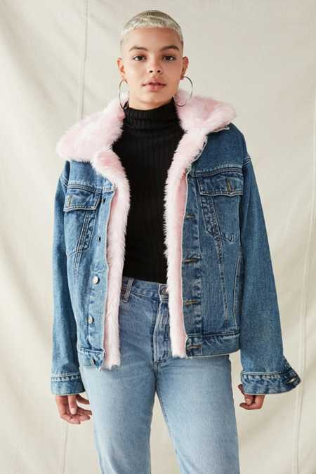 Urban Renewal Faux Fur Trimmed Denim Jacket