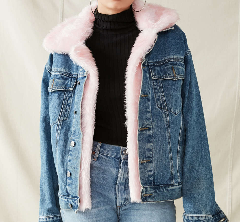 Slide View: 1: Urban Renewal Recycled Faux Fur Trimmed Denim Jacket