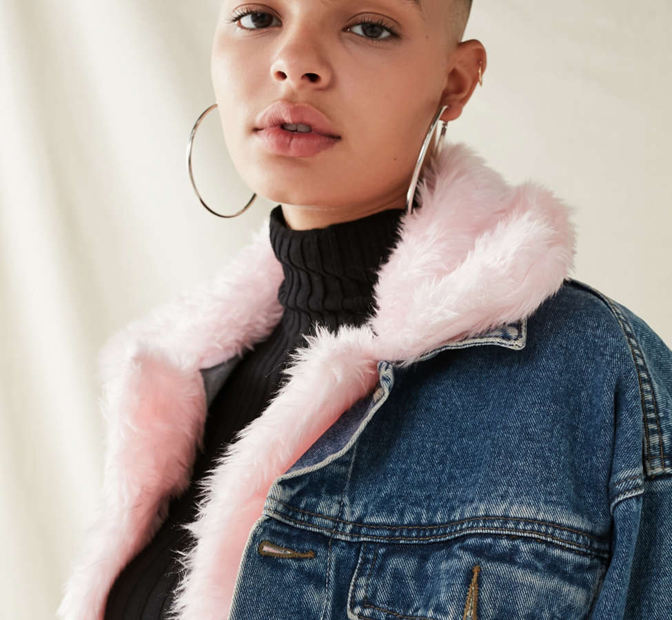 Slide View: 2: Urban Renewal Recycled Faux Fur Trimmed Denim Jacket
