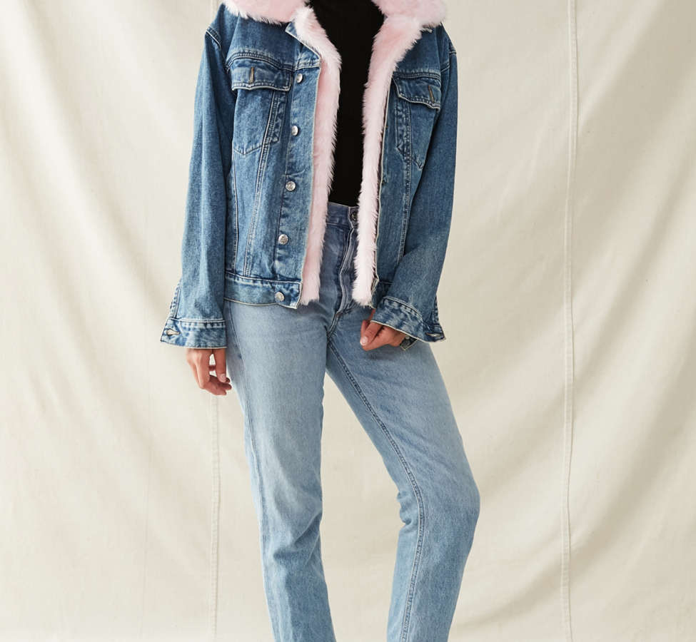 Slide View: 4: Urban Renewal Recycled Faux Fur Trimmed Denim Jacket