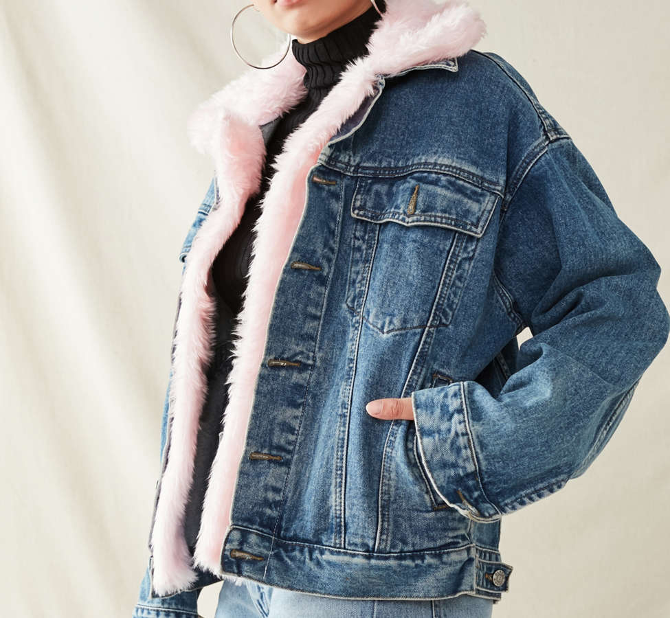 Slide View: 5: Urban Renewal Recycled Faux Fur Trimmed Denim Jacket