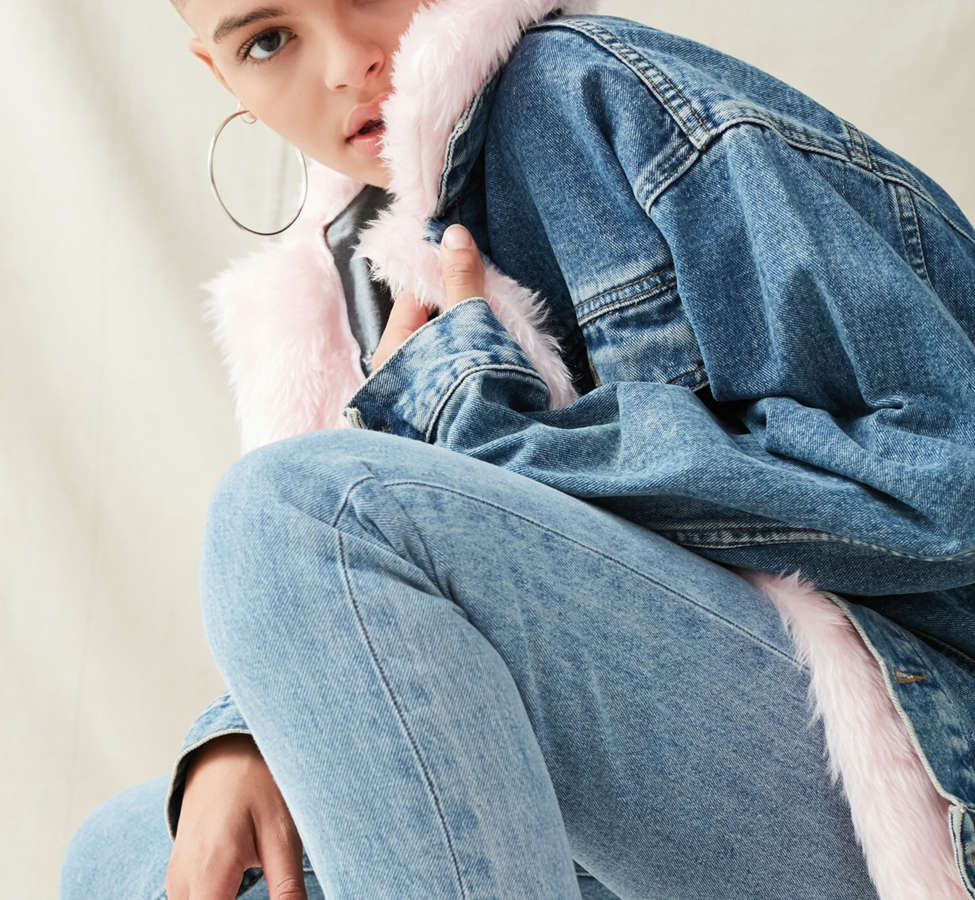 Slide View: 6: Urban Renewal Recycled Faux Fur Trimmed Denim Jacket
