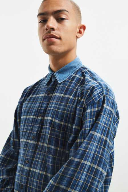 Vintage Contrast Denim Collar Flannel Button-Down Shirt