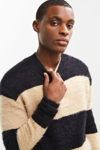 UO Striped Eyelash Sweater - Black Multi S at Urban Outfitters