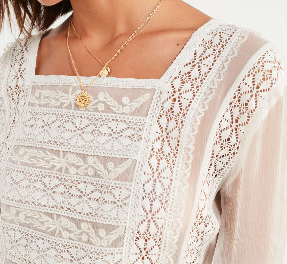 Slide View: 3: UO Sheer Lace Apron Top