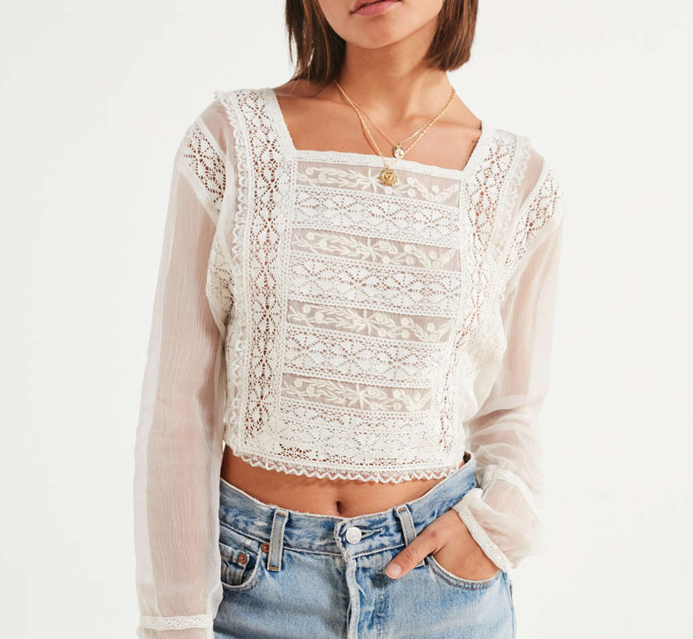 Slide View: 5: UO Sheer Lace Apron Top