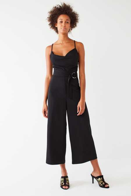 UO Cowl Neck O-Ring Belt Jumpsuit