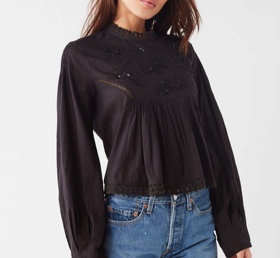 Slide View: 1: UO Victoria Embroidered Mock-Neck Blouse