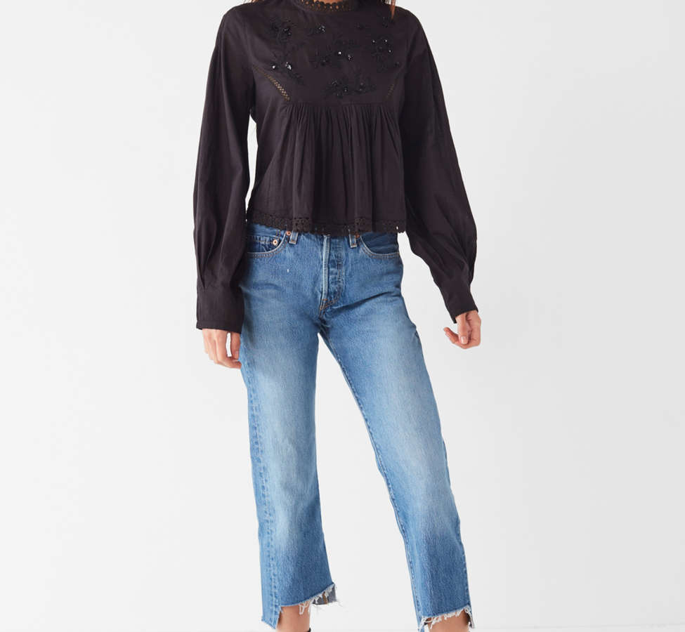 Slide View: 2: UO Victoria Embroidered Mock-Neck Blouse