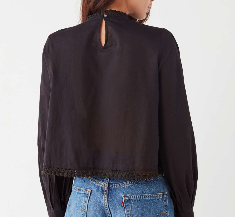 Slide View: 6: UO Victoria Embroidered Mock-Neck Blouse