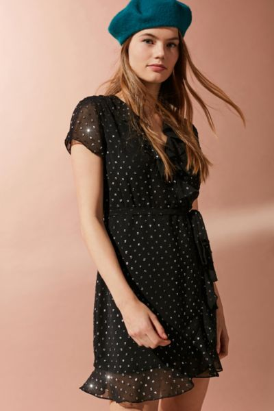 Bardot Foil Polka Dot Ruffle Wrap Dress - Black XS at Urban Outfitters