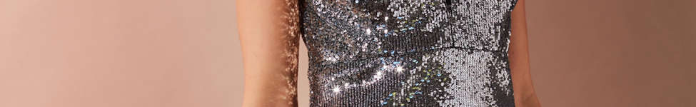 Thumbnail View 1: Bardot Plunging Sequin Dress
