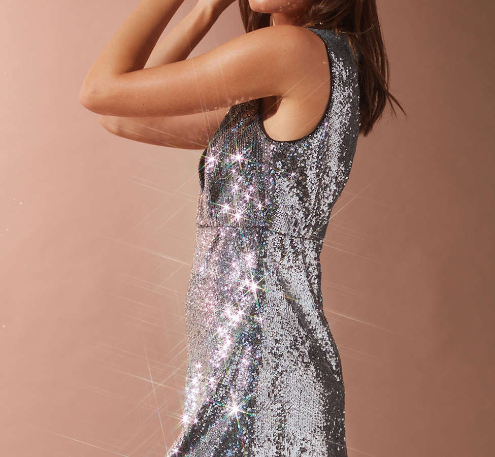 Slide View: 4: Bardot Plunging Sequin Dress