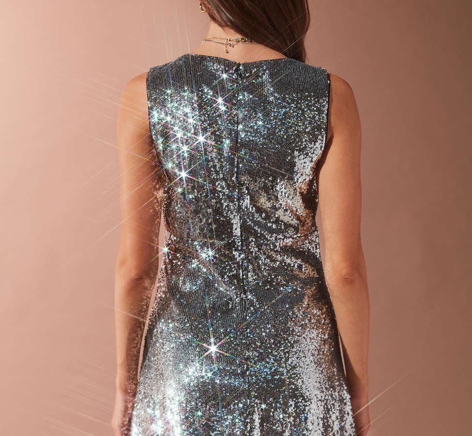 Slide View: 6: Bardot Plunging Sequin Dress
