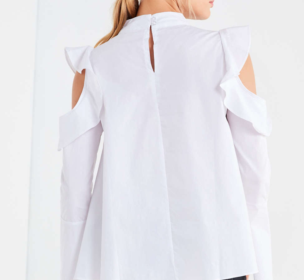 Slide View: 2: Ghospell White Lies Cold-Shoulder Top