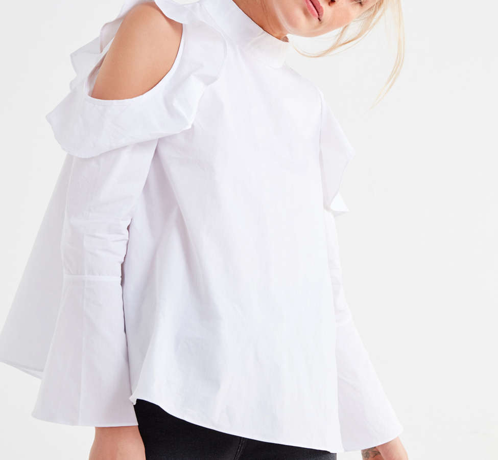 Slide View: 5: Ghospell White Lies Cold-Shoulder Top
