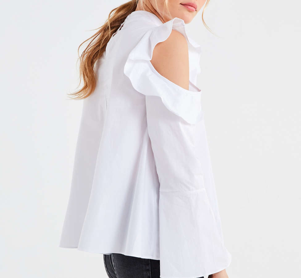 Slide View: 6: Ghospell White Lies Cold-Shoulder Top